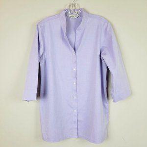 Orvis Lavender Button Down All Cotton Shirt 12